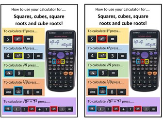 How to use your calculator help sheet for squares, cubes, square roots and  cube roots