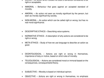 Glossary for Religious Philosophy and Ethics
