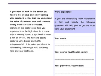 Level 2 Work Experience Project: Hair and Beauty