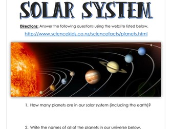 Planets of the Solar System - Webquest