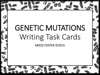 Genetic Mutations: DNA Mutations Writing Task Cards