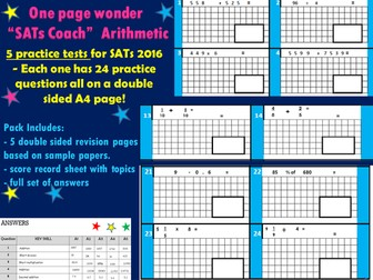 "SATs Arithmetic Revision Pack For KS2 Maths -  ""One Page Wonder! SATs coach"""
