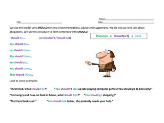 Worksheets for ESL Students to teach the modal verb SHOULD