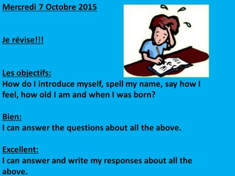 Consolidation test Metro 1 :  Name, spelling, feelings, age and date of birth.