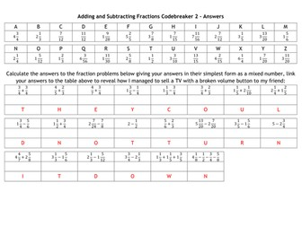 Adding and Subtracting Fractions Codebreakers