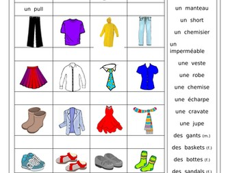 FRENCH - CLOTHING - Des Vêtements, des Couleurs  et Je porte... Worksheets