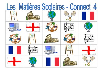 FRENCH~SPANISH~GERMAN ~ School Subjects ~ Connect 4