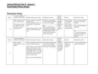 Year 5 literacy planning!
