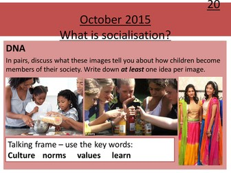 Sociology H580 / H180 Lesson 10 Introduction to Socialisation