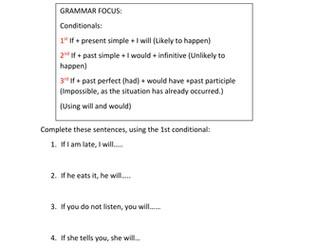 CONDITIONALS Grammar Focus 1,2 and 3