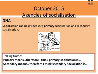 Sociology H580 / H180 Lesson 11 Agencies of Socialisation 1: Peer Groups and Education