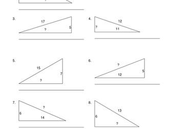 100 Questions on Pythagoras Answers Provided Mathematics Geometry KS2