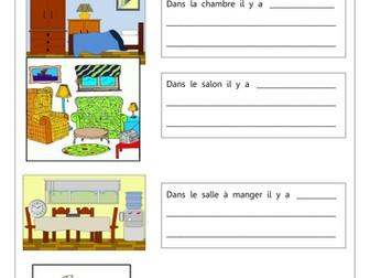 FRENCH - Furniture - Les Meubles et Les Pièces de la Maison - Worksheets