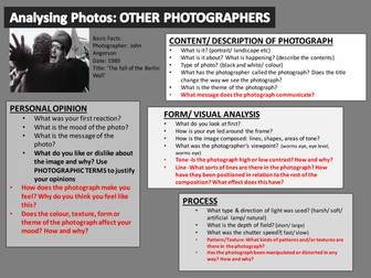 Analysis help sheets for PHOTOGRAPHS own. What to write about own photographs and photographers