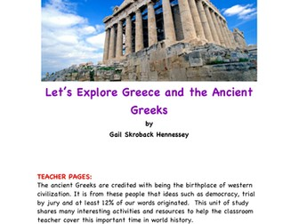 Greeks! Let's Learn about the Greeks and Greece(A Unit of Study)