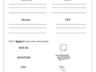 Parts of a computer worksheet