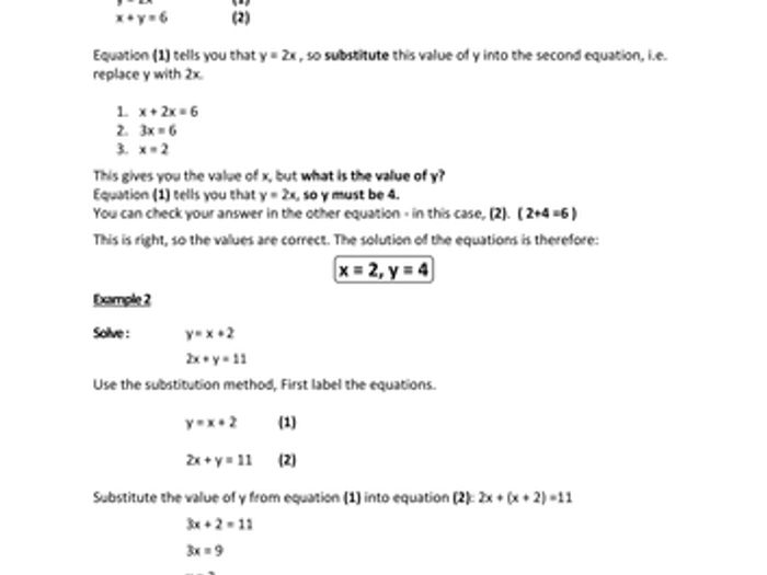 All Worksheets Elimination And Substitution Worksheets – Substitution and Elimination Worksheet
