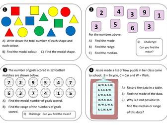 Mode, median and range task cards