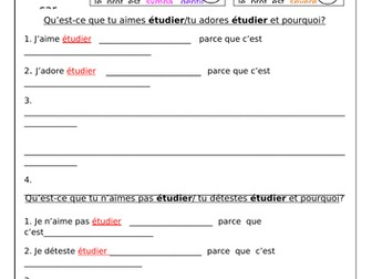 FRENCH - School Subjects and Opinions - Worksheets