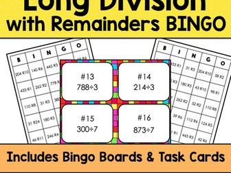 Long Division with Remainders Bingo