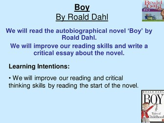 Boy by Roald Dahl Unit of Work for BGE