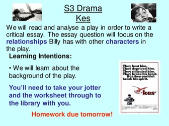 Kes (drama) - Unit of Study for English BGE / National 4