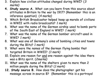 WWI and WWII Civilian experiences test