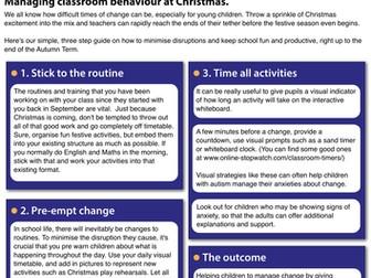 Managing classroom behaviour at Christmas