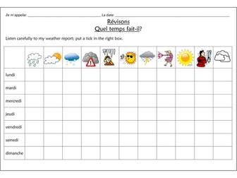 FRENCH ~ Quel temps fait-il?  Revision ~ tick box report