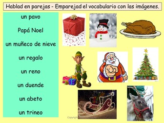 Navidad - Spanish Christmas vocabulary, worksheet, games and Spanish Christmas card