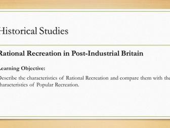 OCR A2 PE Historical Studies - Rational Recreation Lesson Presentations