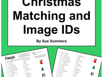 French Christmas Matching Quiz or Worksheet - 31 Words