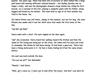 Harry Potter comprehension activities