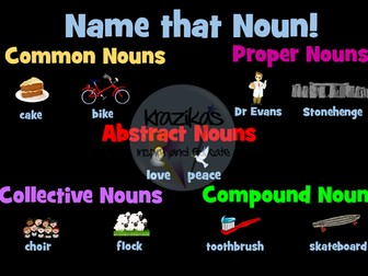 Nouns - Common Nouns, Proper Nouns, Compound Nouns, Abstract Nouns, Collective Nouns PowerPoint Game