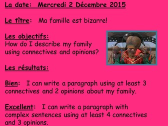 Family members La famille and connectives.  Fantastic reading, whole lesson, just follow the slides!