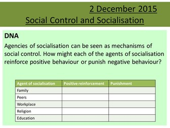 Sociology H580 / H180 Lesson 14 Social Control and Recap of Socialisation
