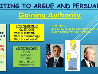 Writing to Argue/Persuade: Gaining Authority