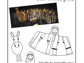 Nativity figures to colour in and make