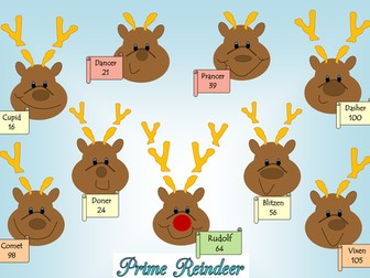 Maths Christmas reindeer prime factor decomposition / prime factor trees worksheet.