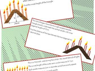 Christmas / Hanukkah maths candles task using Pythagoras and Circumference of semi-circles