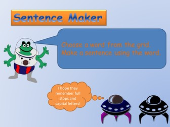 Sentence maker game with nouns
