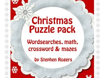 Christmas Games and Puzzles; wordsearches, crossword, mazes, word problems