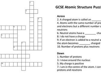 Periodic table crossword puzzle with answers by atomic structure crossword puzzle with answers urtaz Gallery