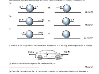 GCSE Physics Worksheets - Forces, Motion and Energy