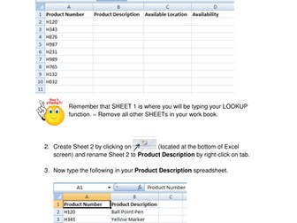 Excel LookUp Function - Extension worksheet (Functional Skills ICT)