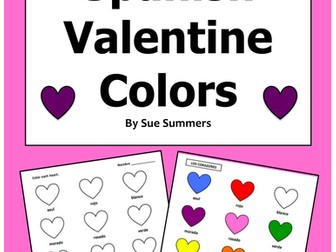 Spanish Valentine Colors Activity Worksheet