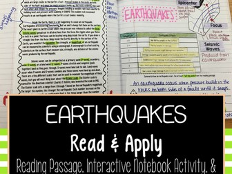 Earthquakes Read and Apply Activity