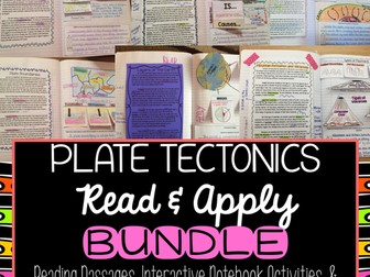 Plate Tectonics Reading Comprehension Interactive Notebook BUNDLE