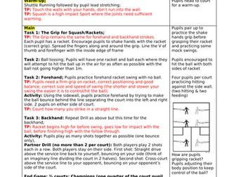 Squash Lesson Plans