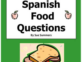 Spanish Food 12 Question Responses and Image IDs - La Comida